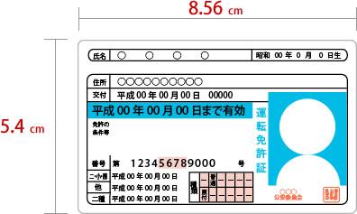 運転免許証のサイズ 運転免許証のサイズ 運転免許証のサイズ 運転免許証のサイズ 縦5.4cm ×